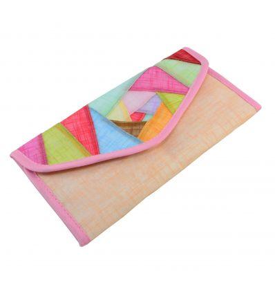 Portefeuille roses-saumon en tissu ramie et de belle décoration patchwork