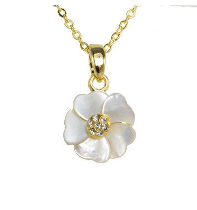 pendentif Fleur de Nacre Blanche sur fond doré
