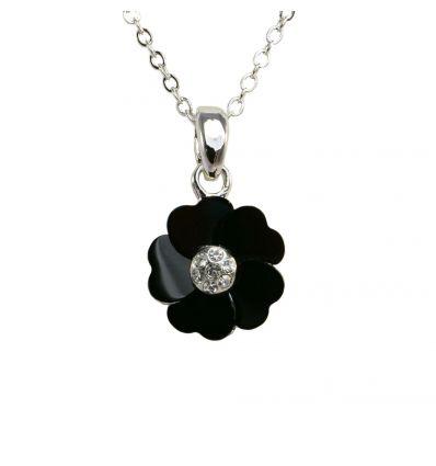 Collier Fleur : Onyx Noire