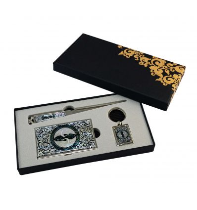 Set cadeau porte-cartes de visite et ouvre-lettre - hérons