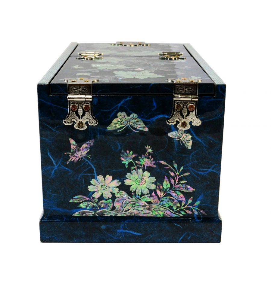 Grande boite bijoux bleu avec miroir design - Miroir boite a bijoux ...