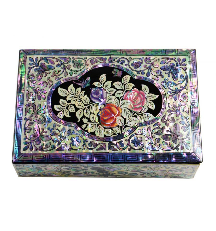 boite bijoux en nacre design fleurs de rose. Black Bedroom Furniture Sets. Home Design Ideas