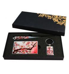 Coffret cadeau trois pièces - design fleurs de cerier