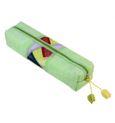 Petite trousse d'école en tissu de couleur vert