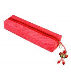 Trousse à crayons en tissu rouge