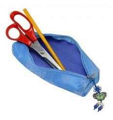 Trousse à crayons en tissu bleu