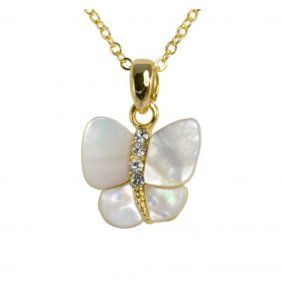 Collier Papillon Nacre blanche Couleur Or