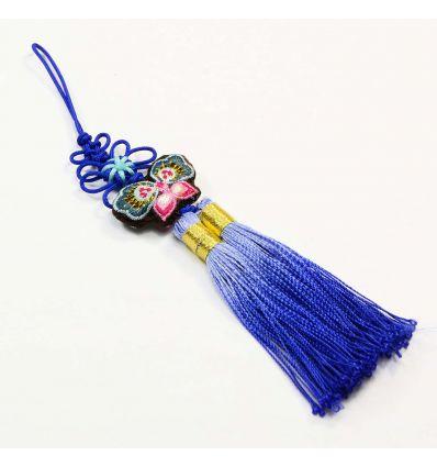 Pendentif Asiatique Bleu  - Norigae Papillon