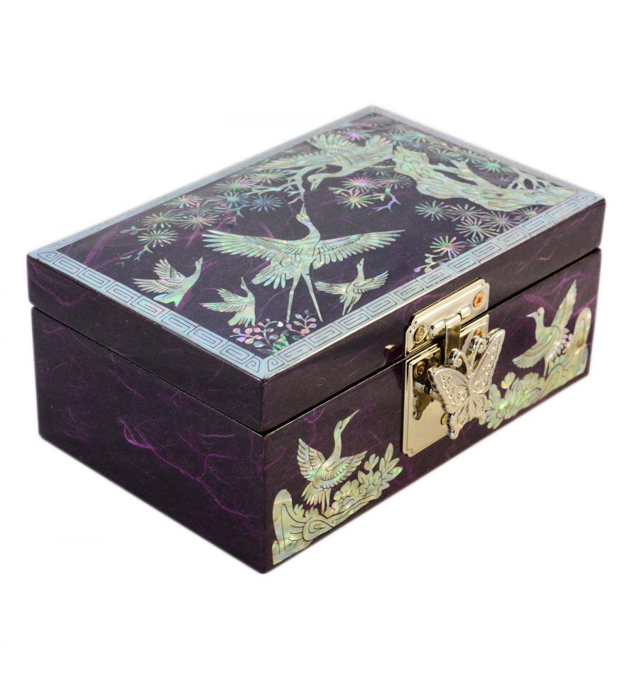 petit coffret bijoux asiatique violet en nacre naturelle. Black Bedroom Furniture Sets. Home Design Ideas