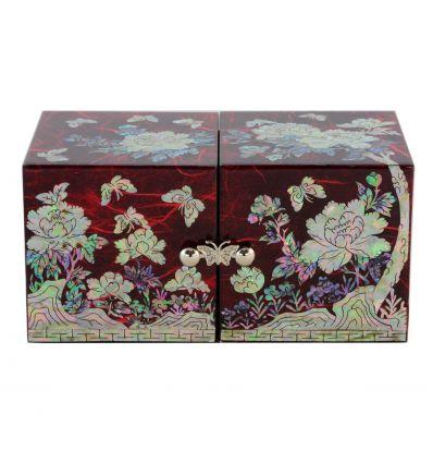 boite bijoux rouge design fantaisie papillon et fleurs. Black Bedroom Furniture Sets. Home Design Ideas