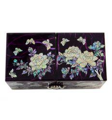 Belle boite bijoux violette aux décors de nacre