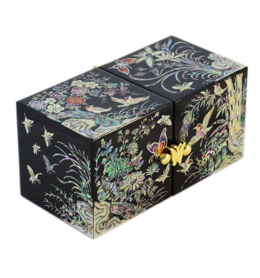 Boite bijoux noire d cors fantaisie asiatique en nacre - Boite a bijoux originale ...