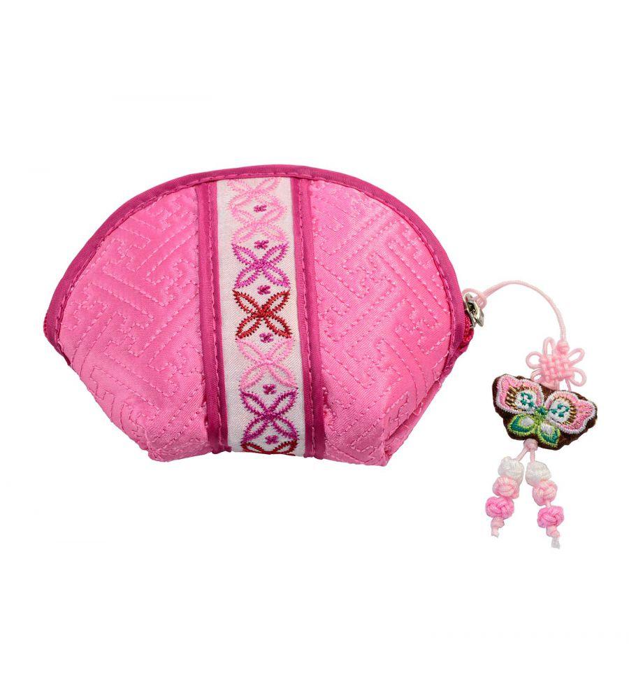 Porte monnaie femme demi lune rose porte monnaie vintage - Porte monnaie en tissu ...