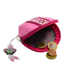 Porte-monnaie rose - Demi-lune, tissu Brocart
