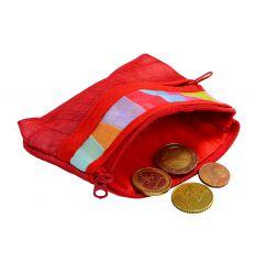 Porte-monnaie rouge en tissu ramie