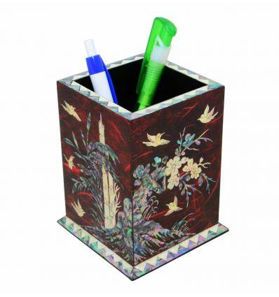 Pot à Crayons rouge design quatre plantes