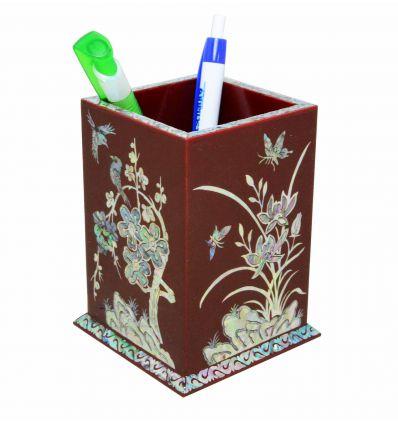 Pot à crayons rouge design 4 plantes - Sagunja