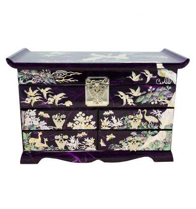 Grande boite à bijoux violette qui est décorée d'image de style asiatique en nacre naturelle