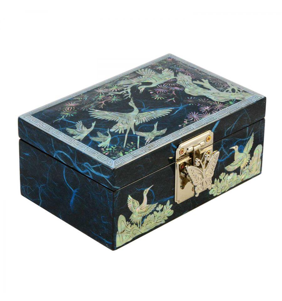 Petit coffret bijoux bleu nuit d cors asie en nacre for Decoration boite a bijoux
