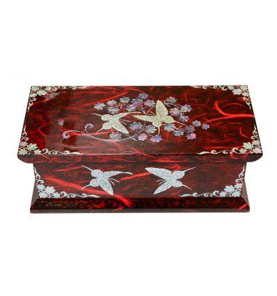 Boite à bijoux fantaisie rouge - Compartiment bagues et miroir