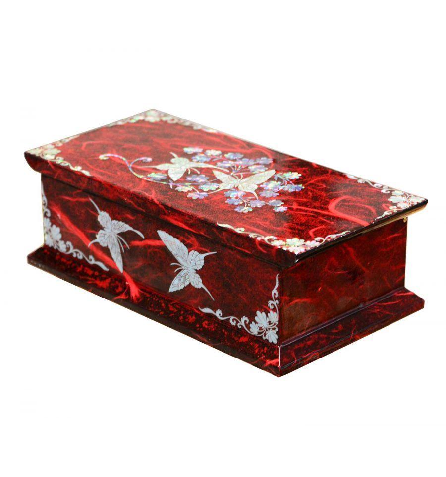 Boite bijoux fantaisie rouge design papillon miroir for Miroir fantaisie design