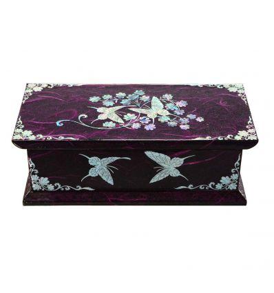 C'est une belle boite à bijoux fantaisie de couleur violet avec des dessins de nacre