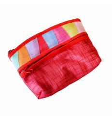 Porte-monnaie Rouge Vin - artisanat tissu ramie