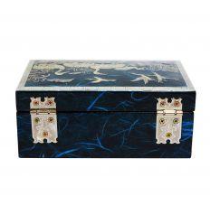 Coffret à bijoux design héron bleu
