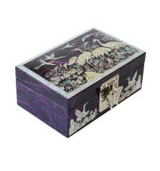 Coffret à bijoux design héron violet