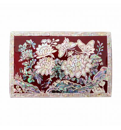 Petite boite à bijoux rouge - design Pivoine