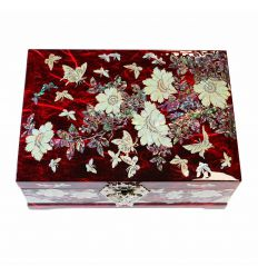 Grand coffret à bijoux rouge double fond automatique design pivoines