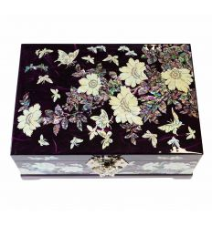 Grand coffret à bijoux violet double fond automatique design pivoines