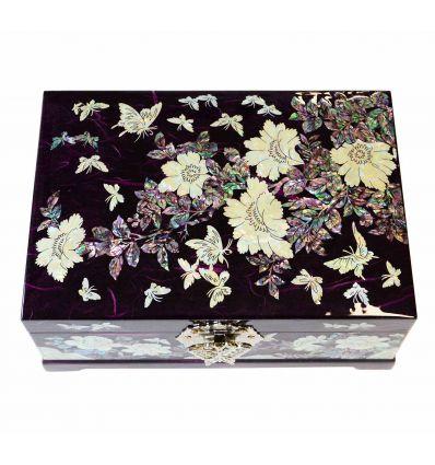 Grand coffret à bijoux violet double fond automatique design pivoines