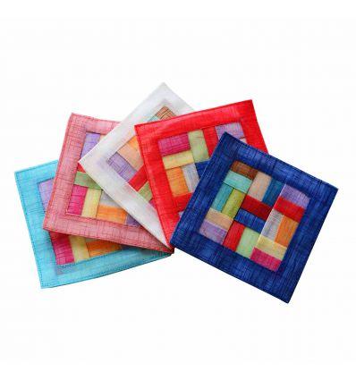 Dessous de verres design, 5 couleurs dans une boite