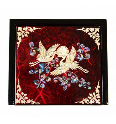 Petite boite à bijoux et bagues rouge design hérons