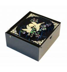 Petite boite à bijoux et bagues bleu design hérons