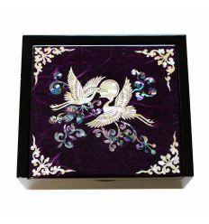 Petite boite à bijoux et bagues violette design hérons