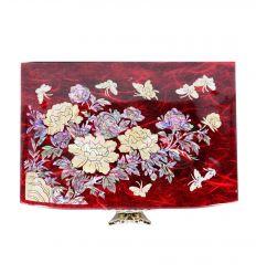 Boite à bijoux pivoine et papillons - Rouge avec nacre
