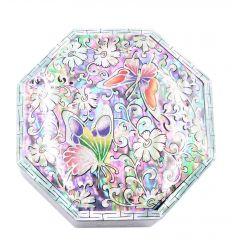 Boite à bijoux hexagonale design trois papillons