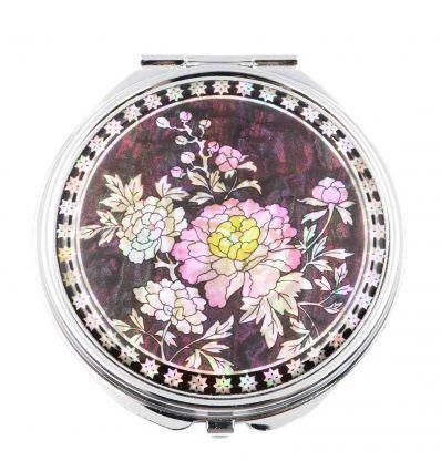 Miroir de poche original avec fleurs de pivoines