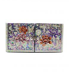 Boite à bijoux cubique, très originale avec de belles illustrations de nacre abalone