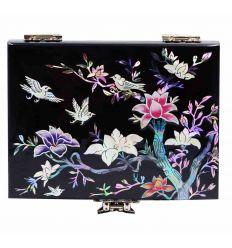 Boîte à bijoux noir design fleurs du prunier