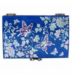 Boîte à bijoux et bagues en Nacre design Couleur Bleu papillons