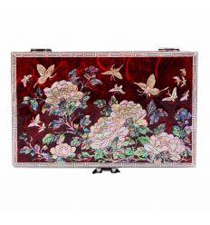 Boîte à bijoux en nacre couleur rouge design papillons et fleurs de prunier.