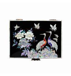 Boîte à bijoux noire design couple hérons et fleurs