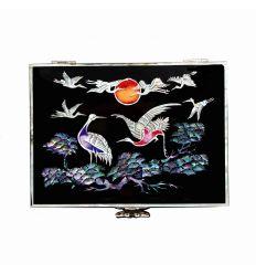 Boîte à bijoux noire design hérons et lune orange