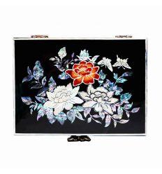 Boîte à bijoux noire en nacre design trois fleurs de prunier