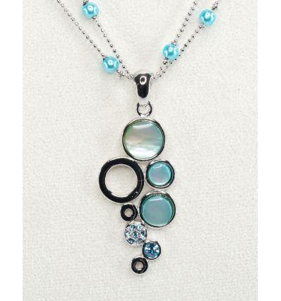 Set collier + boucles d'oreilles nacré ronds de nacre bleu et cristaux de cristal