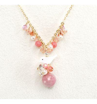 Set collier + boucles d'oreilles oiseaux de nacre et petites perles de couleur.