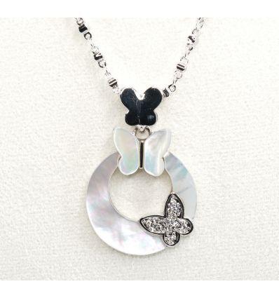 Set collier + boucles d'oreilles deux papillons nacre et  cristal
